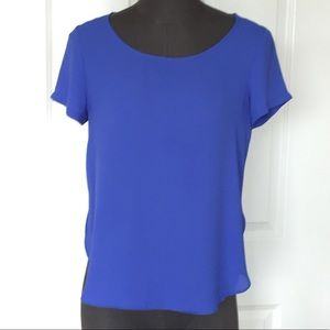 Blue side split blouse tee